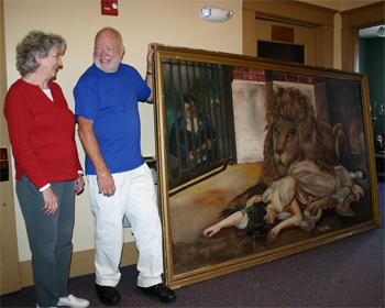 "Hulda Reichenbach, Paul Staublin and the painting ""The Lion's Girl"""